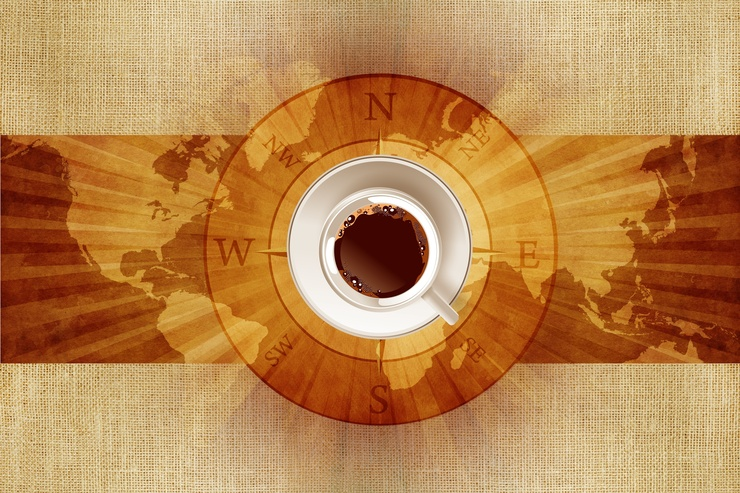 World of Coffee Concept Illustration with World Map, Canvas and Coffee Cup on Compass Rose.